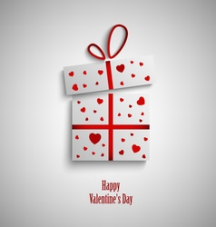 Valentine card with gift and red hearts vector image vector image