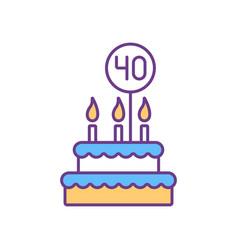 40 birthday cake rgb color icon vector image