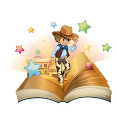A book with a young cowboy in front of a saloon vector