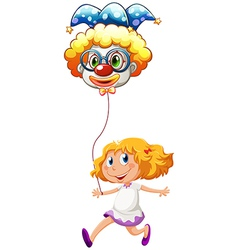 A happy little lady with a clown balloon vector image