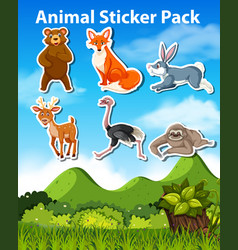a pack animal sticker vector image