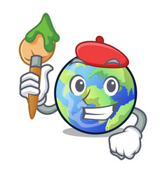 Artist earth in shape on character vector