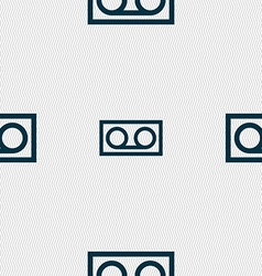 audio cassette icon sign Seamless pattern with vector image