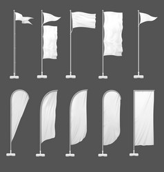 beach flag outdoor banner on flagpole stand vector image
