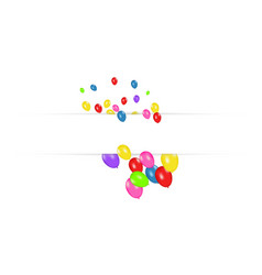 blank banner with color balloons isolated on white vector image