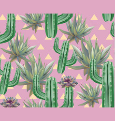 Cactus pattern texture modern pink vector