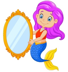 Cartoon funny mermaid swimming holding a classic vector