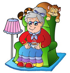 cartoon grandma sitting in armchair vector image