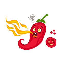cartoon red chili for mexican food vector image