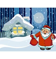 cartoon Santa Claus standing near the hut vector image