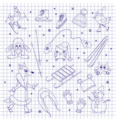 characters and objects on notebook sheet vector image