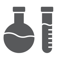 chemical analysis glyph icon laboratory and flask vector image