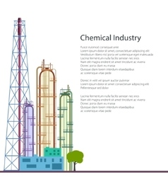 Chemical Plant Isolated on White and Text vector