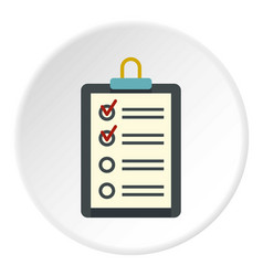 clipboard with checklist icon circle vector image