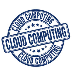 Cloud computing blue grunge stamp vector
