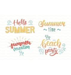 Colorful summer hand lettering set Summer vector image