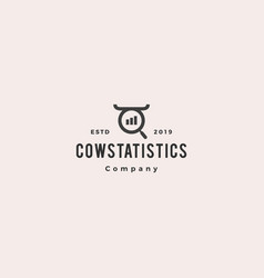 cow bull stat stats statistics search logo vector image