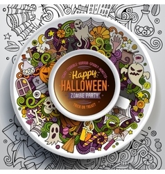 Cup of coffee with Halloween doodles vector