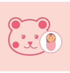 Cute newborn girl on pink blanket and teddy vector