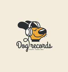dog records logo vector image