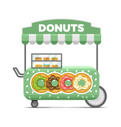Donat street food cart colorful image vector
