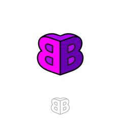 Double b logo two letters volume figure building vector