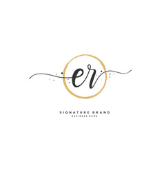 E r er initial letter handwriting and signature vector