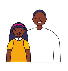 father with daughter on white background vector image