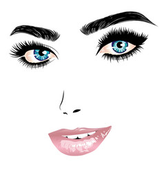 female face with blue eyes and pink lips vector image