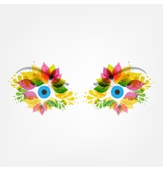 Floral eyes vector image