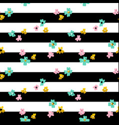 flowers striped seamless pattern vector image