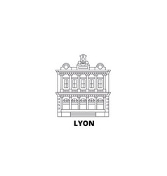 France lyon landmark line travel skyline set vector