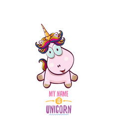 Funny cartoon cute pink fairy unicorn vector