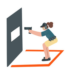 Girl with handgun and holster take an aim vector