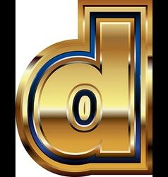 Golden Font Letter d vector image