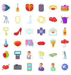 Good wedding icons set cartoon style vector