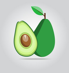 Green avocado fruit on a white space with shadows vector