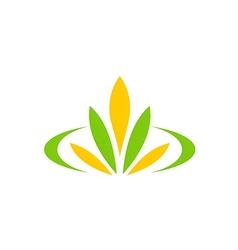 green leaf flower plant spa logo vector image vector image