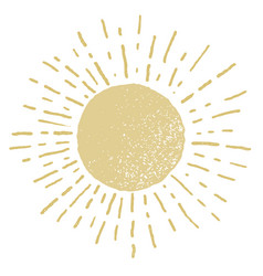 Hand drawn sun isolated on white background vector