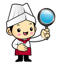 head cook character is holding a magnifying glass vector image
