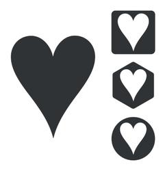 Hearts icon set monochrome vector