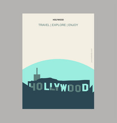 Hollywood usa vintage style landmark poster vector