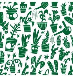 Houseplants - seamless background vector