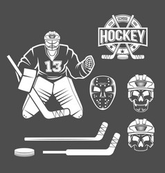 ice hockey goalie elements vector image