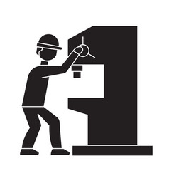 industrial drill black concept ico vector image