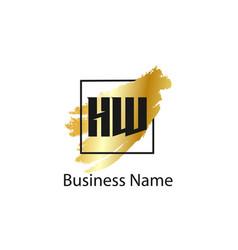 initial letter hw logo template design vector image