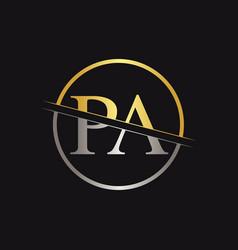 initial monogram letter pa logo design template vector image