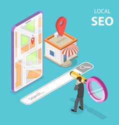 isometric flat concept of local seo vector image
