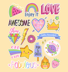 large set colorful fashion patches vector image