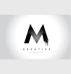 m letter design with brush stroke and modern 3d vector image
